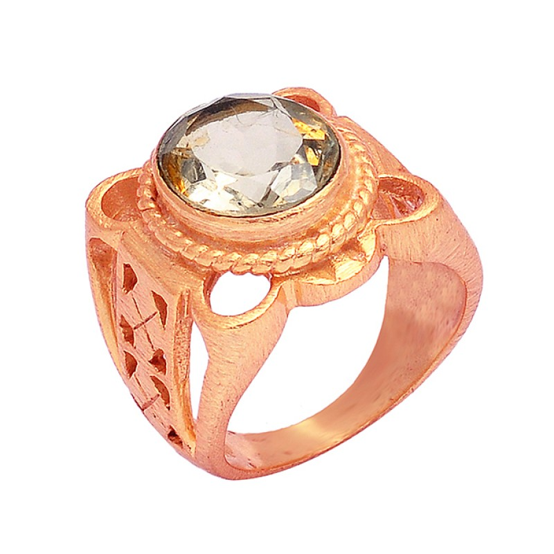 Faceted Oval Shape Citrine Gemstone 925 Silver Filigree Style Gold Plated Ring Jewelry