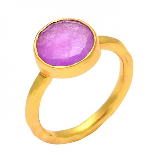 Round Shape Amethyst Gemstone 925 Sterling Silver Gold Plated Handmade Ring Jewelry