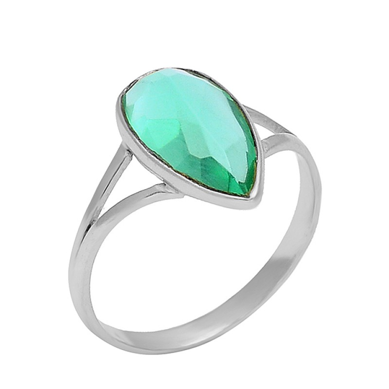 Green Apatite Pear Shape Gemstone 925 Sterling Silver Gold Plated Handmade Ring Jewelry