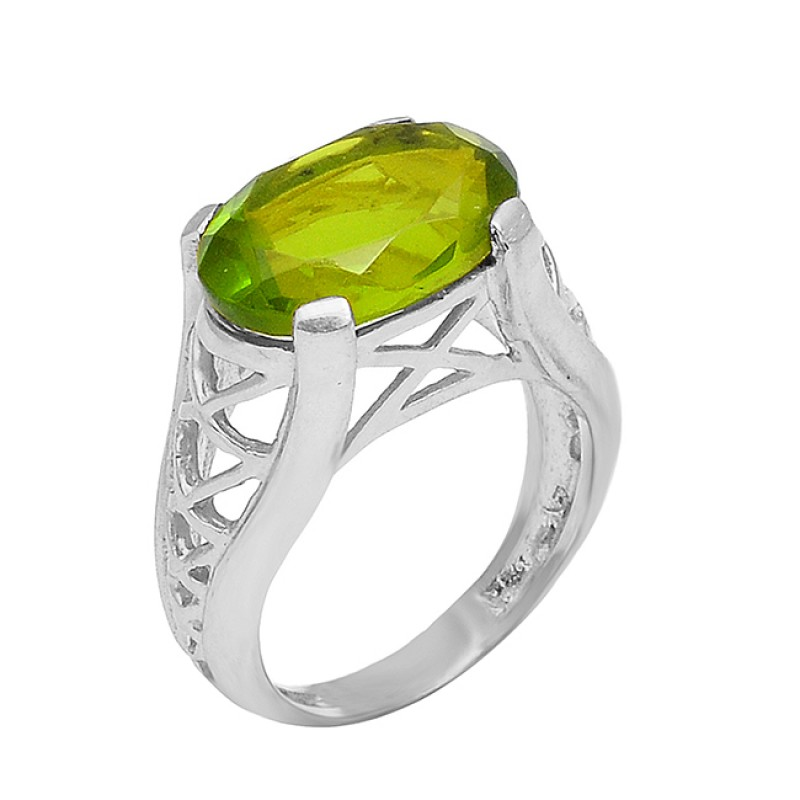 925 Sterling Silver Peridot Oval Shape Gemstone Filigree Designer Gold Plated Ring