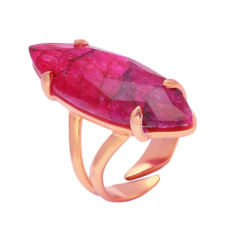 925 Sterling Silver Marquise Shape Ruby Gemstone Gold Plated Prong Setting Ring Jewelry