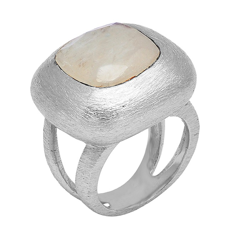 Rainbow Moonstone Square Shape Gemstone 925 Sterling Silver Gold Plated Ring Jewelry