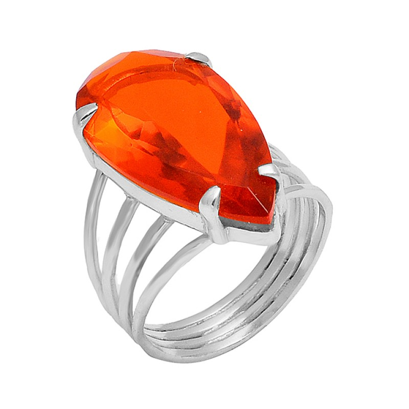 Pear Shape Fanta Quartz Gemstone 925 Sterling Silver Gold Plated Prong Setting Ring Jewelry