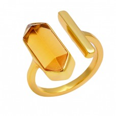 Stylish Handcrafted Designer Citrine Pencil Shape Gemstone 925 Sterling Silver Gold Plated Ring
