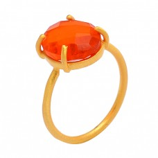Carnelian Oval Shape Gemstone 925 Sterling Silver 925 Sterling Silver Gold Plated Ring Jewelry