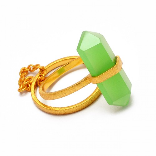 925 Sterling Silver Double Point Shape Pencil Shape Chalcedony Gemstone Gold Plated Ring
