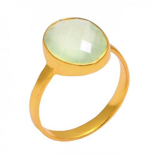 Oval Shape Aqua Chalcedony Gemstone 925 Sterling Silver Gold Plated Handmade Ring Jewelry