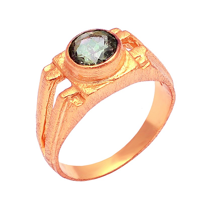 Round Shape Mystic Topaz Gemstone 925 Sterling Silver Gold Plated Designer Ring Jewelry