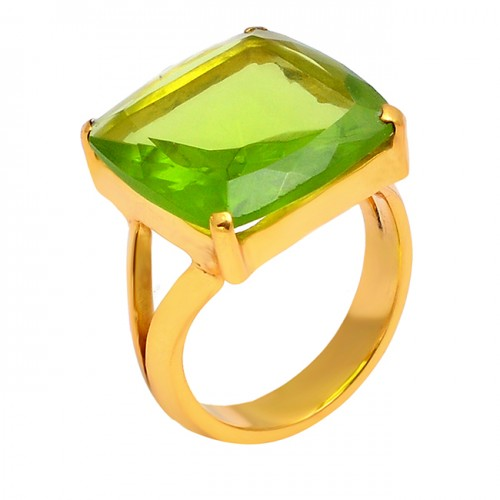 Square Shape Peridot Gemstone 925 Sterling Silver Gold Plated Prong Setting Designer Ring