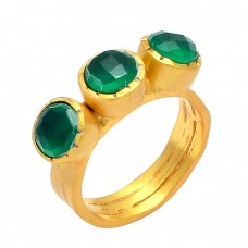 Green Onyx Round Shape Gemstone 925 Sterling Silver Gold Plated Handmade Designer Ring