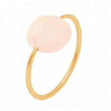Cabochon Cushion Rose Quartz Gemstone 925 Sterling Silver Gold Plated Ring Jewelry