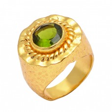 Latest Round Shape Peridot Gemstone 925 Sterling Silver Gold Plated Unique Ring Jewelry