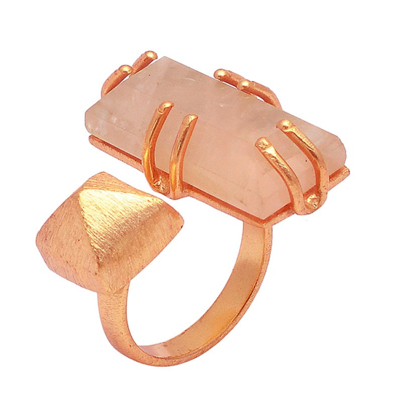 Rectangle Shape Rose Chalcedony Gemstone 925 Sterling Silver Gold Plated Designer Ring