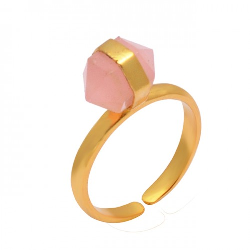 Pencil Shape Rose Chalcedony Gemstone 925 Sterling Silver Gold Plated Adjustable Ring Jewelry