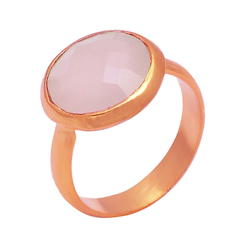 Rose Chalcedony Round Shape Gemstone 925 Sterling Silver Gold Plated Ring Jewelry