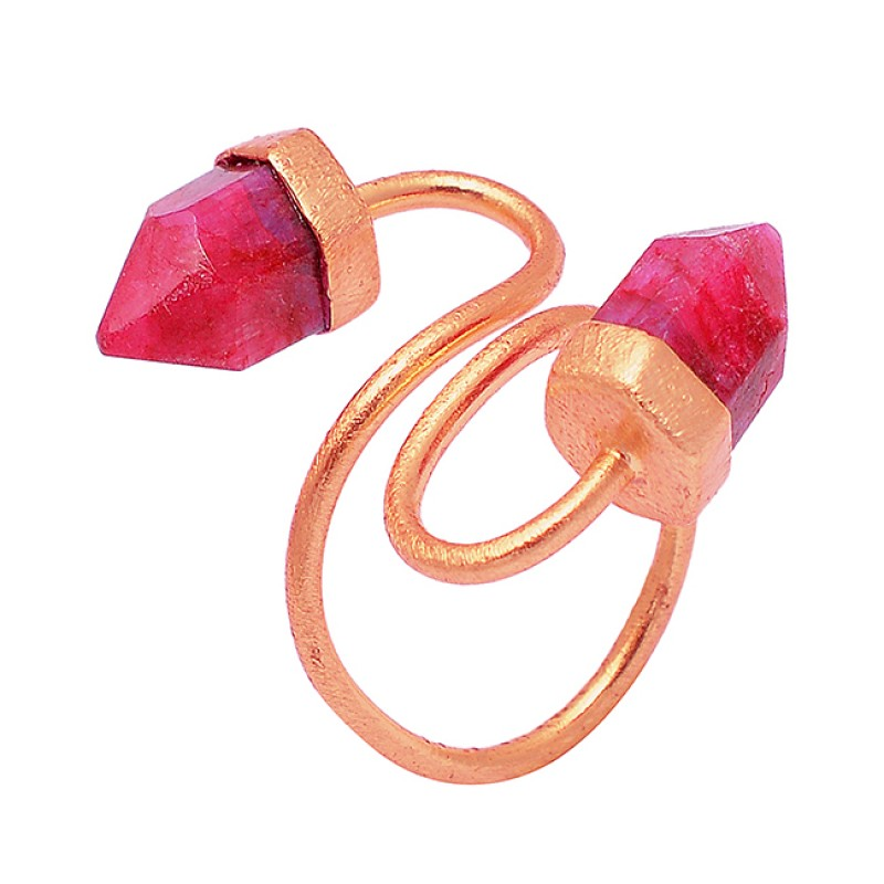 925 Sterling Silver Ruby Pencil Shape Gemstone Gold Plated Band Designer Ring Jewelry