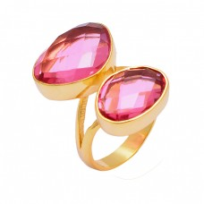 Pink Quartz Oval Shape Gemstone 925 Sterling Silver Gold Plated Handmade Ring Jewelry