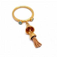 Round Shape Aqua Chalcedony Gemstone 925 Silver Gold Plated Ring Jewelry
