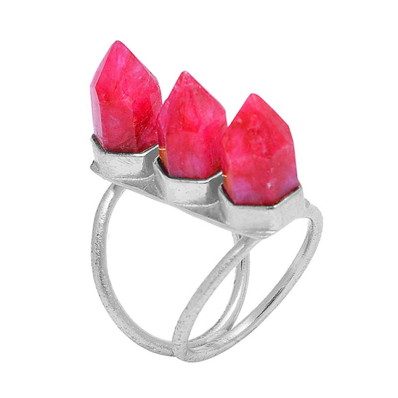 Pencil Shape Ruby Gemstone 925 Sterling Silver Gold Plated Handcrafted Ring Jewelry