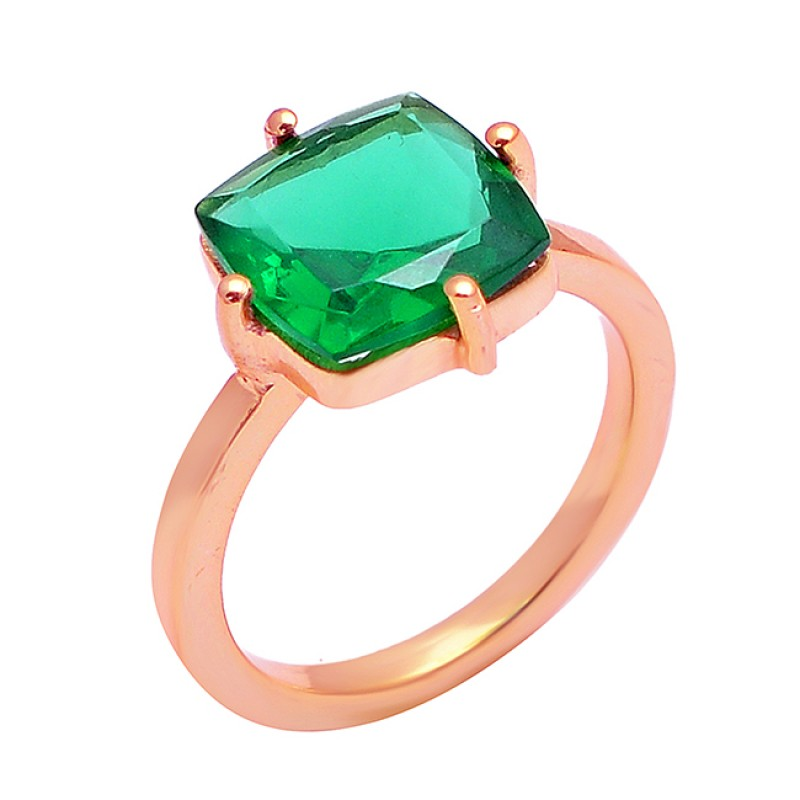 Green Quartz Square Shape Gemstone 925 Sterling Silver Gold Plated Ring Jewelry