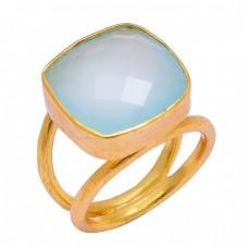 Cushion Shape Aqua Chalcedony Gemstone 925 Sterling Silver Gold Plated Handmade Ring Jewelry