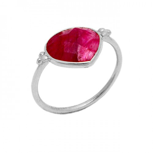 Heart Shape Briolette Ruby Gemstone 925 Sterling Silver Gold Plated Ring Jewelry