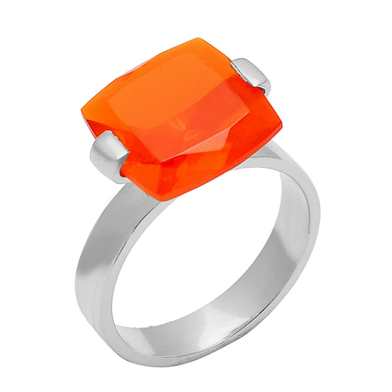Fanta Quartz Square Shape Gemstone 925 Sterling Silver Gold Plated Desinger Ring Jewelry