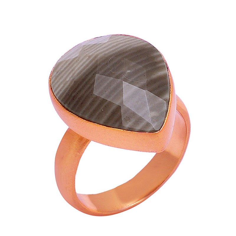 Pear Shape Banded Agate Gemstone 925 Sterling Silver Gold Plated Handmade Ring Jewelry