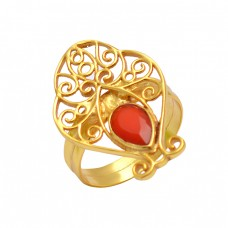 Filigree Style Carnelian Pear Shape Gemstone 925 Silver Gold Plated Ring Jewelry