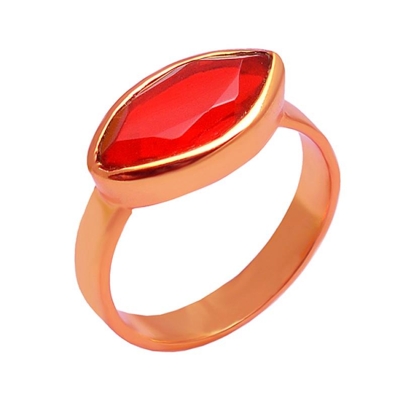 Red Quartz Marquise Gemstone 925 Sterling Silver Gold Plated Handmade Designer Ring