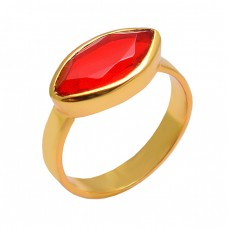 Red Quartz Marquise Gemstone 925 Sterling Silver Gold Plated Handmade Designer Ring