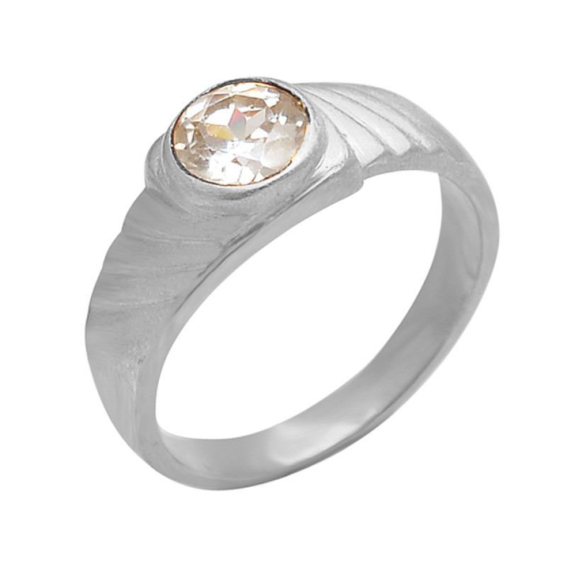 925 Sterling Silver Cubic Zirconia Gemstone Gold Plated Stylish Designer Ring Jewelry