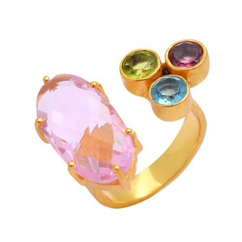 925 Sterling Silver Multi Color Gemstone Gold Plated Unique Designer Ring Jewelry