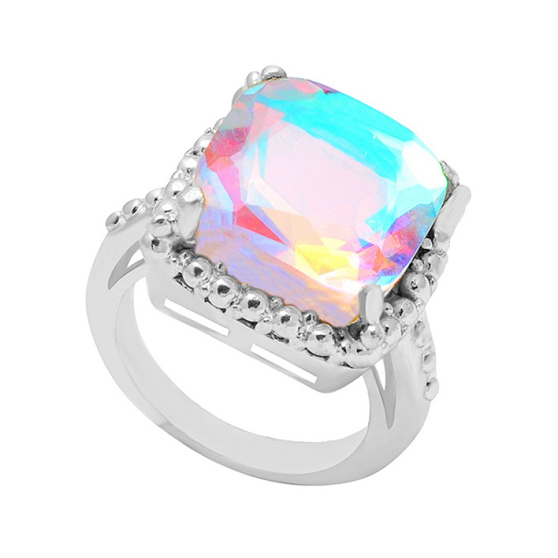 Rainbow Mystic Topaz Gemstone 925 Sterling Silver Gold Plated Fashionable Ring Jewelry