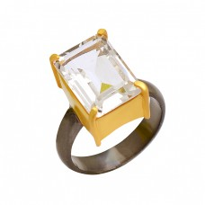 Rectangle Shape Crystal Quartz Gemstone 925 Sterling Silver Gold Plated Designer Ring Jewelry