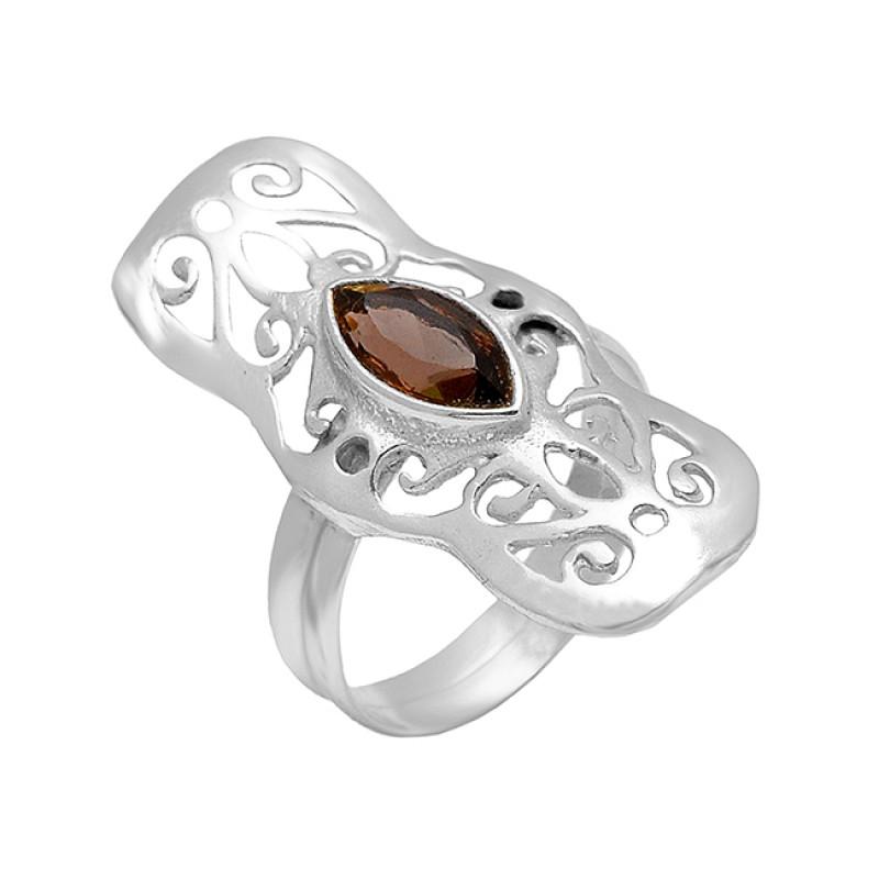 Smoky Quartz Marquise Shape Gemstone 925 Sterling Silver Gold Plated Filigree Style Designer Ring