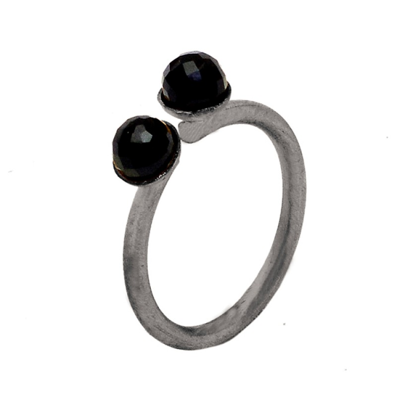 Faceted Balls Shape Black Onyx Gemstone 925 Sterling Silver Gold Plated Ring Jewelry
