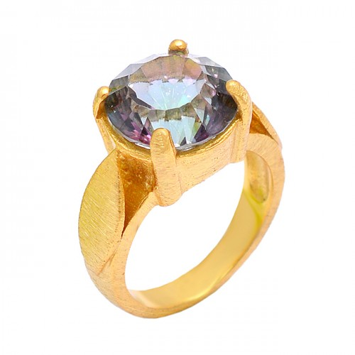 Prong Setting Round Shape Mystic Topaz Gemstone 925 Sterling Silver Gold Plated Ring Jewelry
