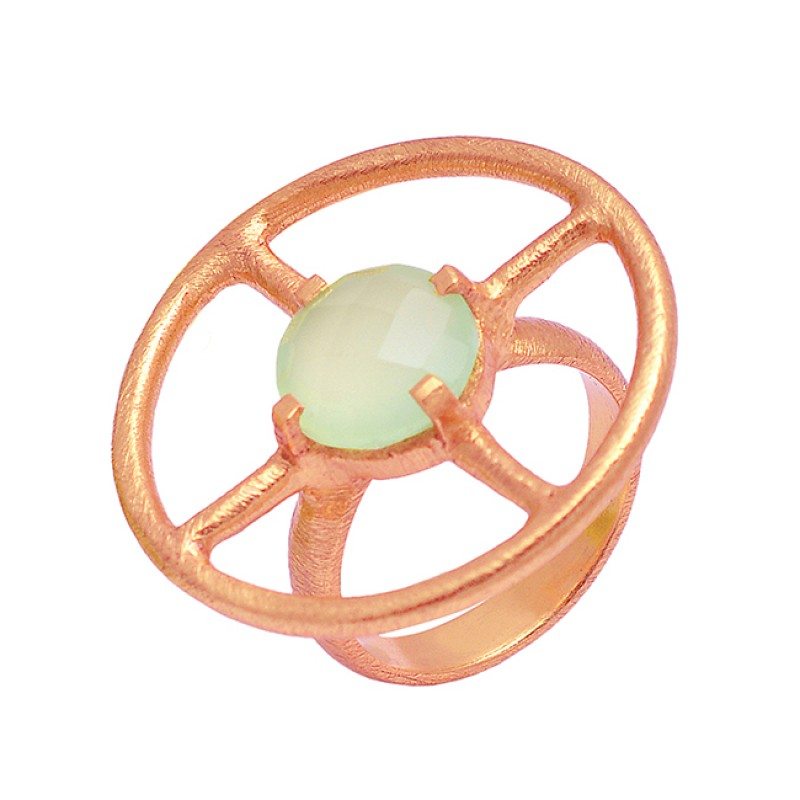 925 Sterling Silver Round Shape Chalcedony Gemstone Gold Plated Stylis Ring Jewelry