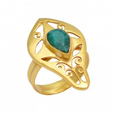 Emerald Pear Shape Gemstone 925 Sterling Silver Gold Plated Filigree Style Designer Ring Jewelry