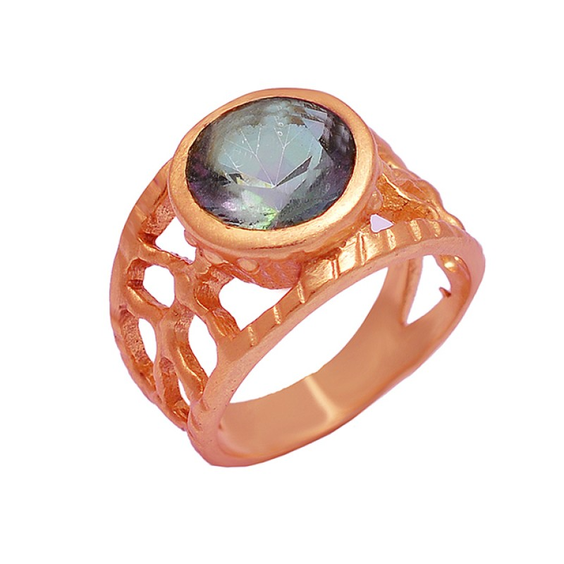 925 Sterling Silver Round Shape Mystic Topaz Gemstone Gold Plated Ring Jewelry