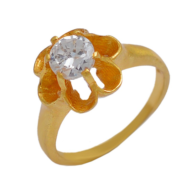 Cubic Zirconia Gemstone 925 Sterling Silver Gold Palted Handcrafted Designer Ring Jewelry