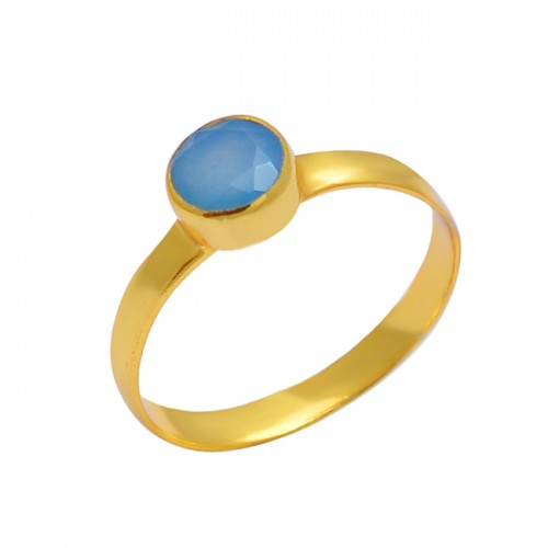 925 Sterling Silver Round Shape Chalcedony Gemstone Gold Plated Handmade Ring Jewelry