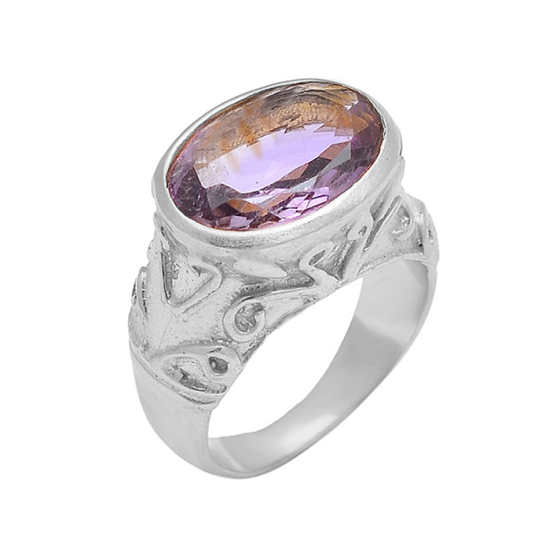 Vintage Style Amethyst Oval Shape Gemstone 925 Silver Gold Plated Ring Jewelry