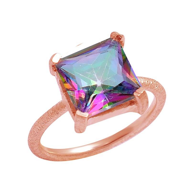 Square Shape Mystic Toapz Gemstone 925 Sterling Silver Handmade Designer Ring