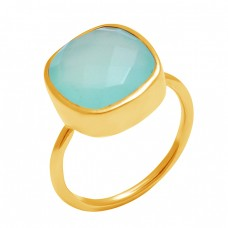 925 Sterling Silver Cushion Shape Chalcedony Gemstone Handmade Ring Jewelry
