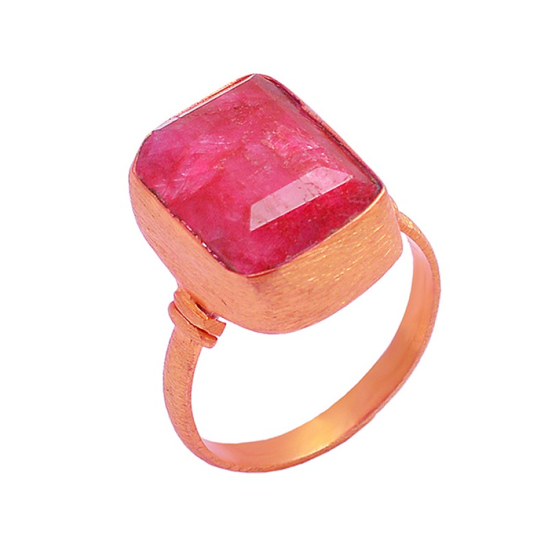 925 Sterling Silver Ruby Rectangle Shape Gemstone Gold Plated Designer Ring
