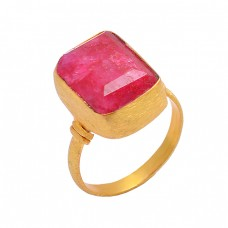 925 Sterling Silver Ruby Rectangle Shape Gemstone Gold Plated Designer Ring