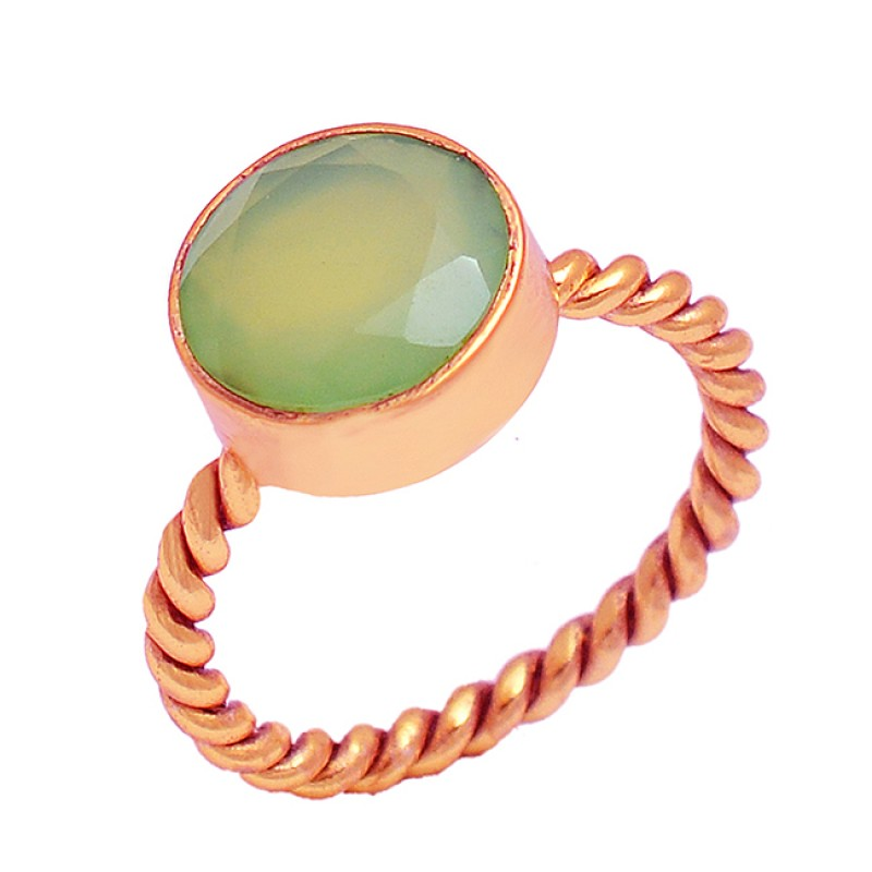 925 Sterling Silver Aqua Chalcedony Round Shape Gemstone Gold Plated Ring