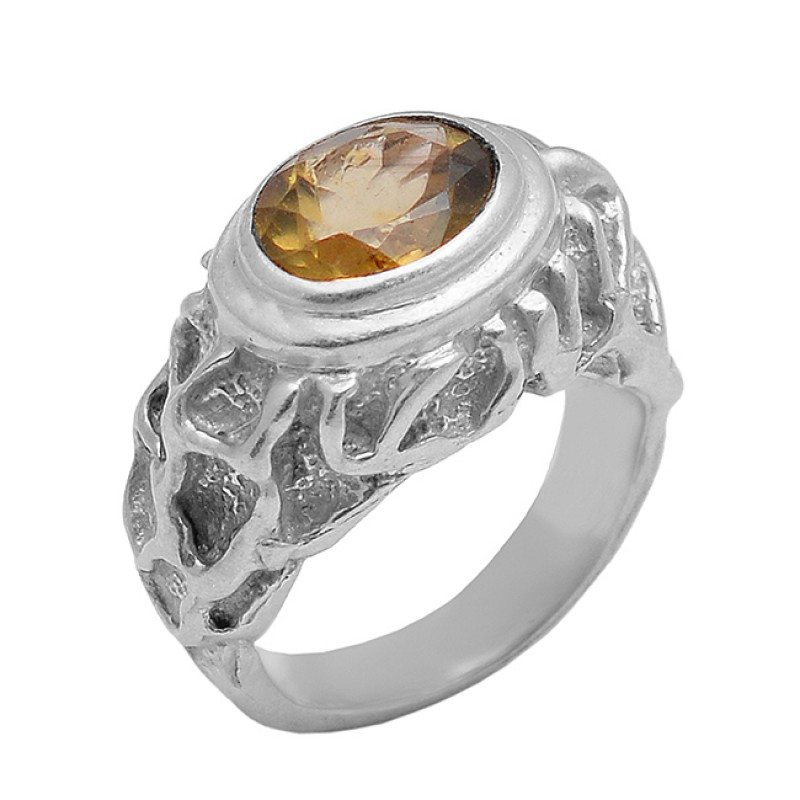 Oval Faceted Smoky Quartz 925 Sterling Silver Gold Plated Ring Jewelry